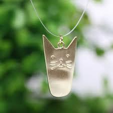 copper cat necklace pendant fashion gold silver