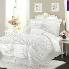 elegant bedroom interior design ideas with white fluffy rug under bed and white bedding ruffle comforter