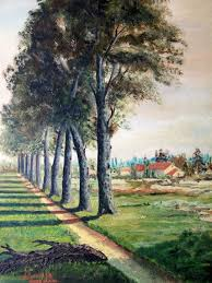 path under the trees original french oil painting unknown artist