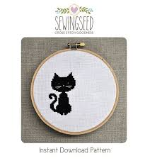 Cat Cross Stitch Patterns Fascinating Small Black Cat Cross Stitch Pattern Instant Download Etsy