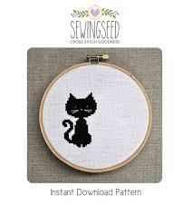 Cat Cross Stitch Patterns Fascinating Small Black Cat Cross Stitch Pattern Instant Download Etsy