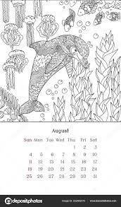 Zee Anti Stress Kleurplaat Voor Kalender 2019 Stockvector