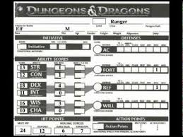 dungeons and dragons character sheet online d d the 4e character sheet youtube