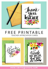 Printable Thank You Cards For Teachers Thank You Teacher A Set Of Free Printable Note Cards