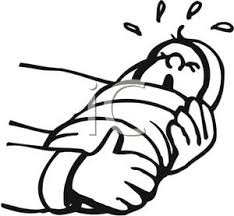 blanket clipart. a crying infant wrapped in blanket - royalty free clipart picture