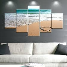 how to hang canvas art 5 panels romantic sea sand beach oil painting wall art pictures how to hang canvas art