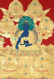 the cine buddha and his seven brothers thangka painting with gold