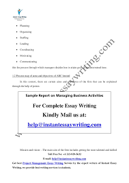sample report on managing business activities by instant essay writing 5