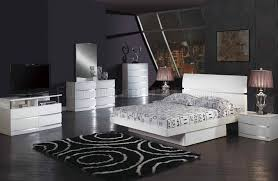 Aurora Modern Bed in White Glossy Finish by Global