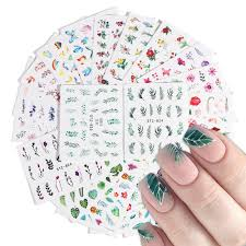 29pcs diy simple green black leaf water sticker nail flower flamingo slider decal for manicure nail