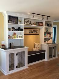 dog storage furniture. dog kennels bench seat with storage and built in bookshelves for the basement furniture