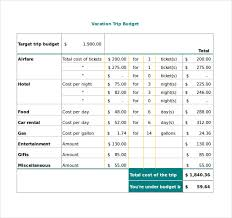 vacation budget planner travel budget template 9 free word excel pdf documents