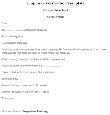 Employment Verification Letter Template Gplusnick