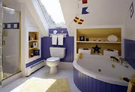 bathroom design center 4. Exellent Center Blue And White Themed Kids Bathroom Designs With Floor Tiles  Bathtub Also Flags Ornaments Design Center 4