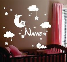 personalized name moon clouds and stars nursery decor kids decal sticker custom smiling wall art decal on stars nursery wall art with personalized name moon clouds and stars nursery decor kids decal