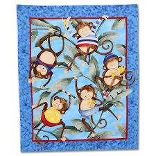61 best Fabric Patterns images on Pinterest | Flannels, Nurseries ... & Nursery Rhyme Monkey Business Quilt Panel Cotton Fabric - Cotton Coordinates Adamdwight.com