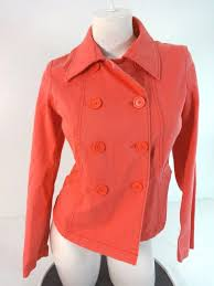 details about gap womens pink cotton peacoat jacket coat size 4 super cute