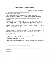 Shareholder Loan Agreement Template It Resume Cover Letter Sample