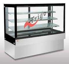 square glass cake display case orchid led light custom refrigerated display images