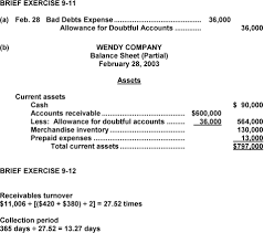 allowance for uncollectible accounts balance sheet answers to questions pdf
