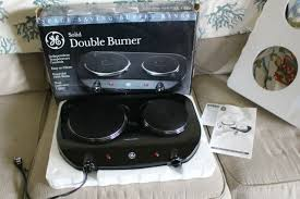 ge portable electric double burner cooktop countertop stove black 1550 watts
