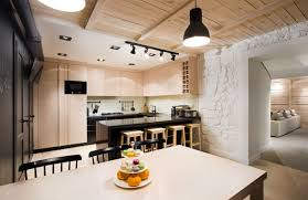 Cobblestone Kitchen Floor Interior Design Modern Rustic House With Stained Wooden Ceiling