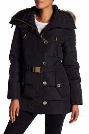 image of michael michael kors faux fur belted puffer jacket