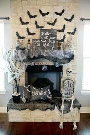 Halloween Mantel Decorations - Spooky Mantle Decor with skeleton, flying  bats, apothecary jars. Beautiful cream and black colors.