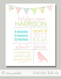 Birth Announcement Birth Stats Printable Wall By Citruspaperco