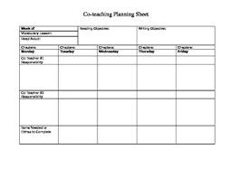 Co Teaching Planning Sheet For Ela Teachers
