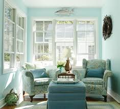 small sunroom decorating ideas with teal winged back chairs Decor