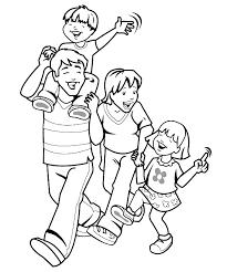 Familie Kleurplaat Wandel