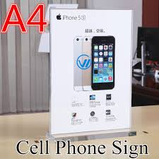 A4 Thicken Acrylic Cell Phone Advertising Screens Apple Store Mobile