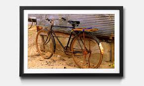 the framed wall art old bicycle