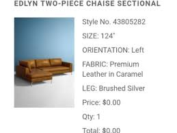 a screenshot from an email confirmation of the order of the 0 couch anthropologie