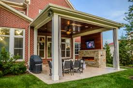 Backyard Covered Patio outdoor living space with covered patio and fireplace in mason oh 3638 by guidejewelry.us