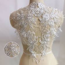 1 pair embroidery lace trim sewing applique motif diy wedding bridal dress craft
