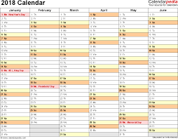 Calendar Excel Template 2018 Calendar Download 17 Free Printable Excel Templates