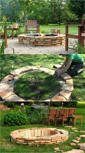 easy diy fire pit with stacked stone