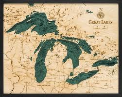 Lake St Catherine Depth Chart Great Lakes Wood Carved Topographical Depth Chart Map