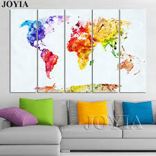 large world map paintings watercolor canvas art set globe scratch map of the world wall art