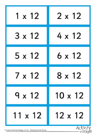 Times Tables Flash Cards Double Sided