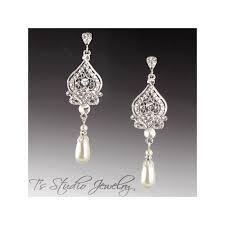 teardrop pearl bridal chandelier earrings in white or ivory pearls