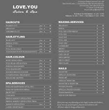 Salon Price List Price List LOVEYOU Salon Spa 1