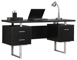60 silver metal computer desk cappuccino contemporary desks and hutches