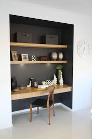 Study nook somewhere in main living zone, like the contrast dark colour and  wood detailing. Closet DeskCloset ...