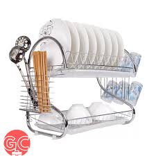 GC 2 Layers S <b>Shape Stainless Steel</b> Dish Rack Organizer with Tray ...