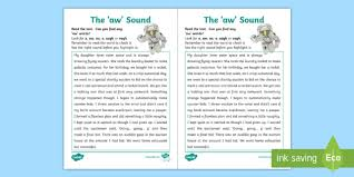 They start their phonics journey by learning the initial sounds. Aw Sound Worksheet Ni Phase 4b Phonics Teacher Made