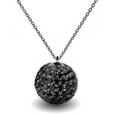 details about 3 50ct black diamond pave solid gold ball pendant necklace on chain