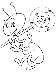 Small Picture Ant Holding Lollipop Coloring Page H M Coloring Pages